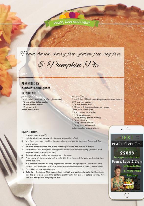 Plant based Pumpkin Pie - peaceloveandlight